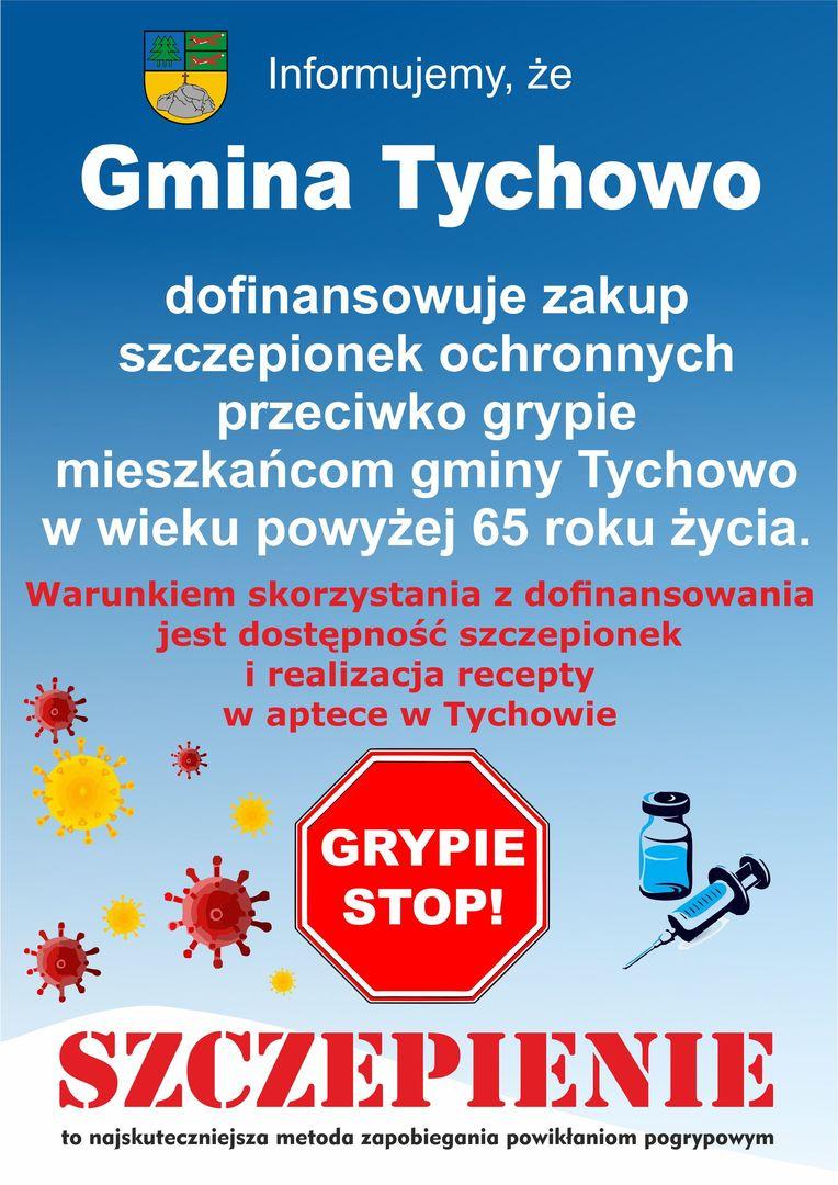Plakat informujący o bezpłatnych szczepieniach przeciwko grypie dla mieszkańców gminy Tychowo powyzej 65 roku życia
