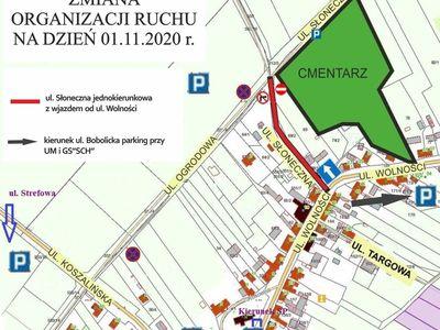 Zdjęcie przedstawia organizację ruchu w okolicy cmentarza w Tychowie w dniu 1 listopada 2020 r.