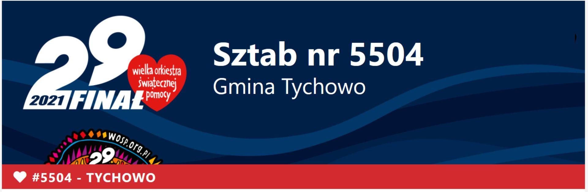 Sztab nr 5504 Gmina Tychowo. Na zdjęciu czerwono serduszko Wielkiej Orkiestry Świątecznej Pomocy