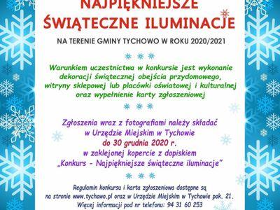 """Plakat informujący o ogłoszonym konkursie Burmistrza Tychowa """"Najpiękniejsze świąteczne iluminacje na terenie gminy Tychowo"""" w roku 2020/2021"""